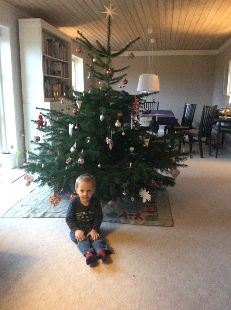 Sigurd foran træet og set halvfærdige tæppe :-)